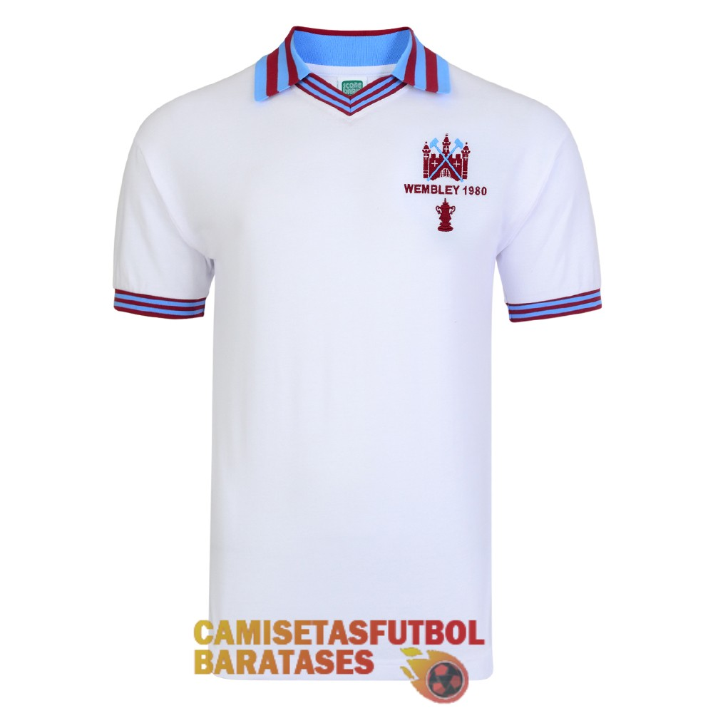 west ham united retro campeones camiseta blanco 1980